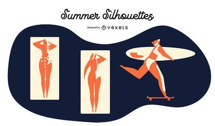 Conjunto de vectores de silueta de verano
