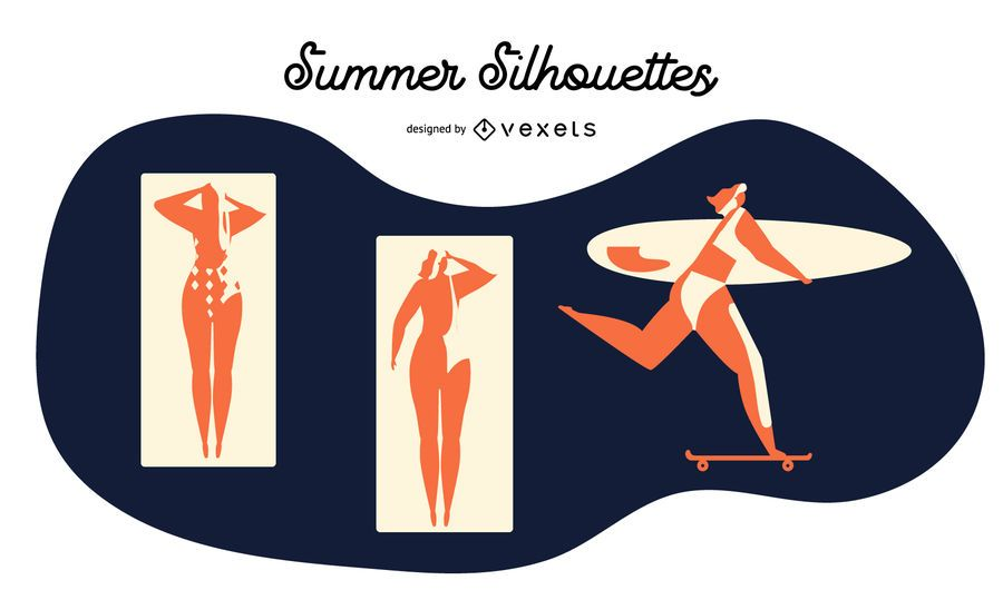 Sommer Silhouette Vektor festgelegt