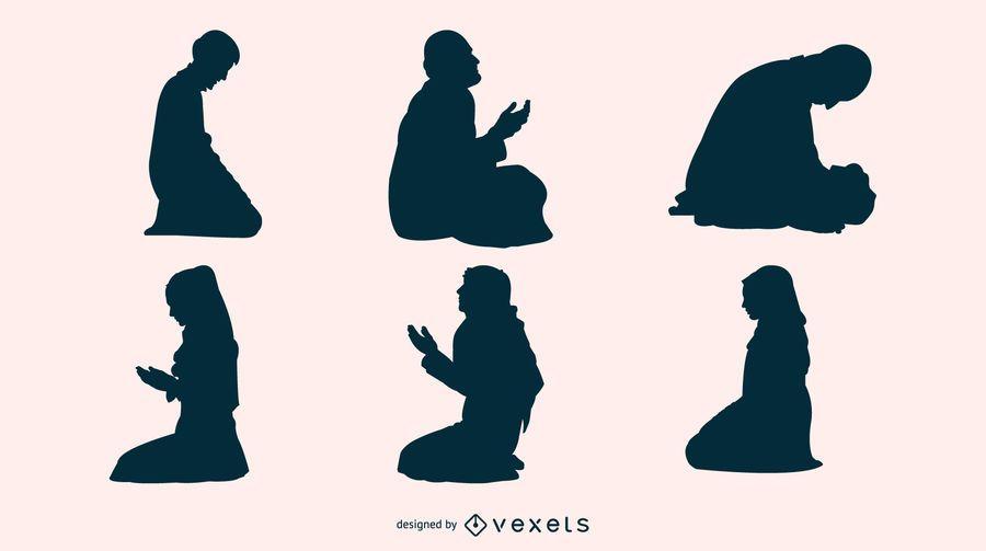 Silhueta de oração do Ramadã
