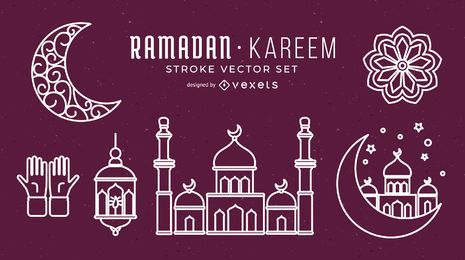 Ramadan Stroke Vector Set