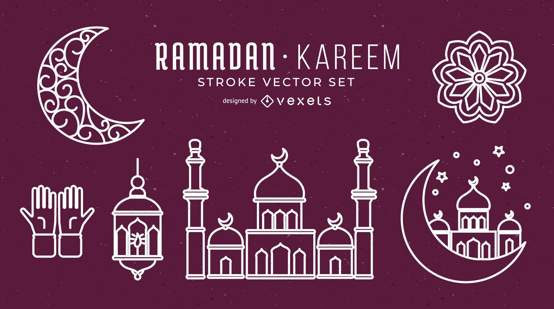 Ramadan Stroke Vector Set