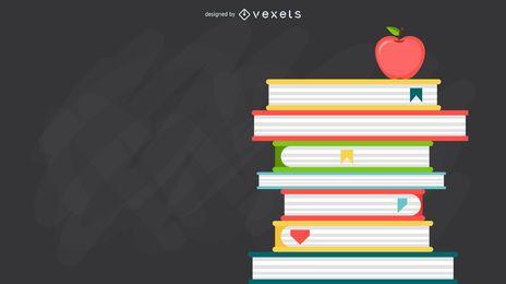 Ilustración de libros apilados profesor