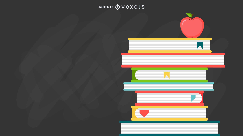 Ilustração de livros empilhados pelo professor