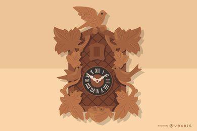 Deutsche hölzerne Uhr