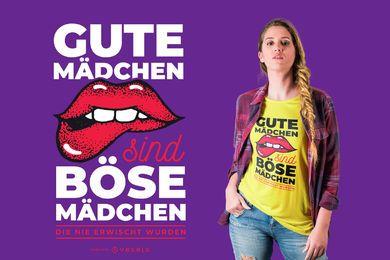 Design alemão de camisetas para meninas más e boas meninas