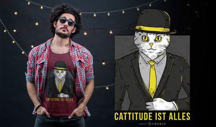 Deutscher Cattitude T-Shirt Entwurf
