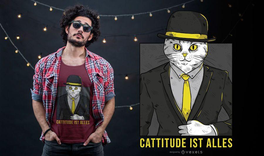 Diseño de camiseta cattitude alemana