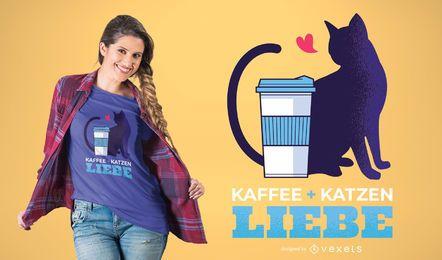 Diseño de la camiseta del gato del café