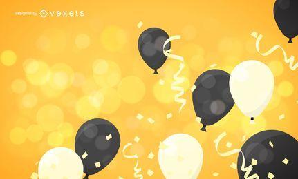Ilustración de celebración con globo y cinta