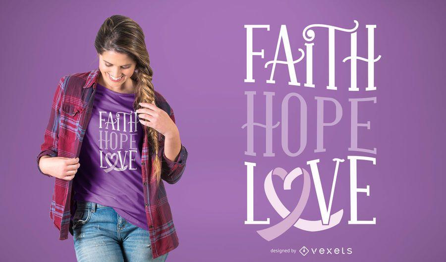 Diseño de camiseta amor fe esperanza