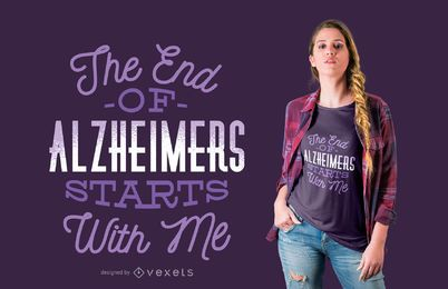 Fim do design do t-shirt de alzheimer