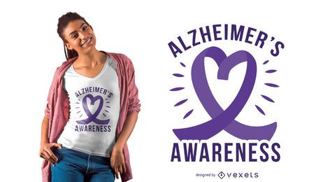 Alzheimer's ribbon heart t-shirt design