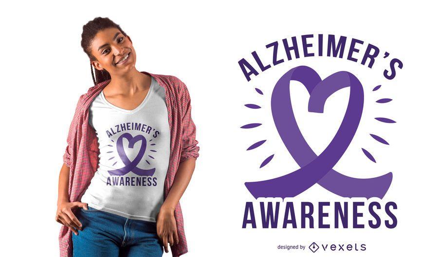 Diseño de la camiseta del corazón de la cinta de Alzheimer
