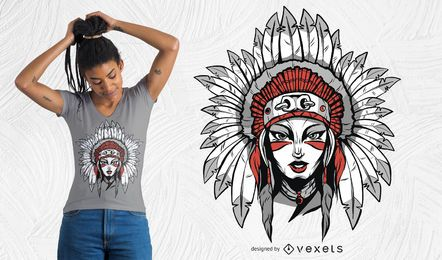 Mulher, com, headdress, t-shirt, desenho