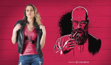 Design de t-shirt de homem de barba de tubulação