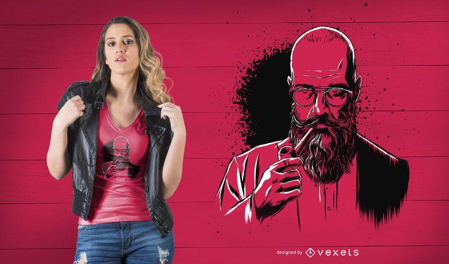 Pipe beard man t-shirt design