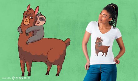 Lama-Sloth, das T-Shirt Design umarmt