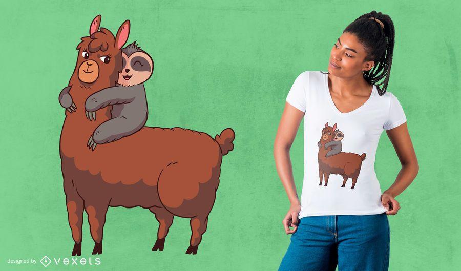 Llama pereza abrazando diseño de camiseta