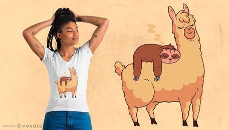 Projeto do t-shirt do lama da equitação da preguiça