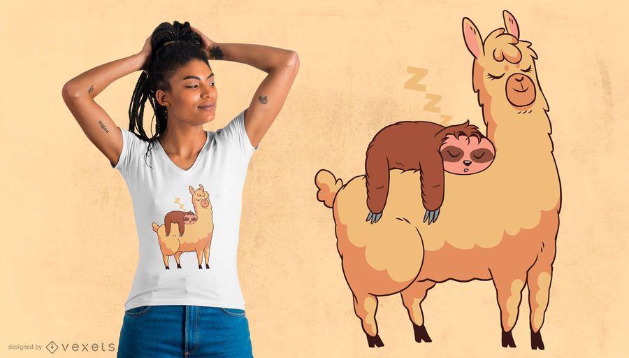 Design de t-shirt de lama que monta preguiça