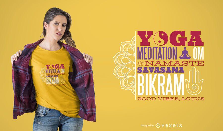 Diseño inspirado de la camiseta de la cita de la yoga