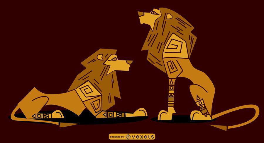 Conjunto de Leões Sylish Egípcio