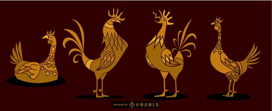 Egyptian rooster set