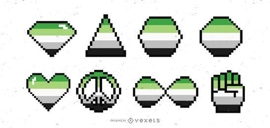 Ilustración de formas pixaladas