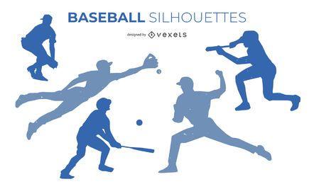 Conjunto de diseño de silueta de béisbol