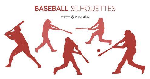 Conjunto de silhueta de jogador de beisebol