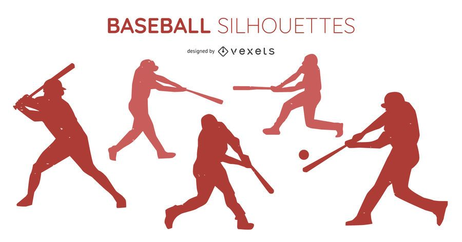 Baseball player silhouette set