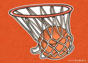 Basketball In Net Illustration