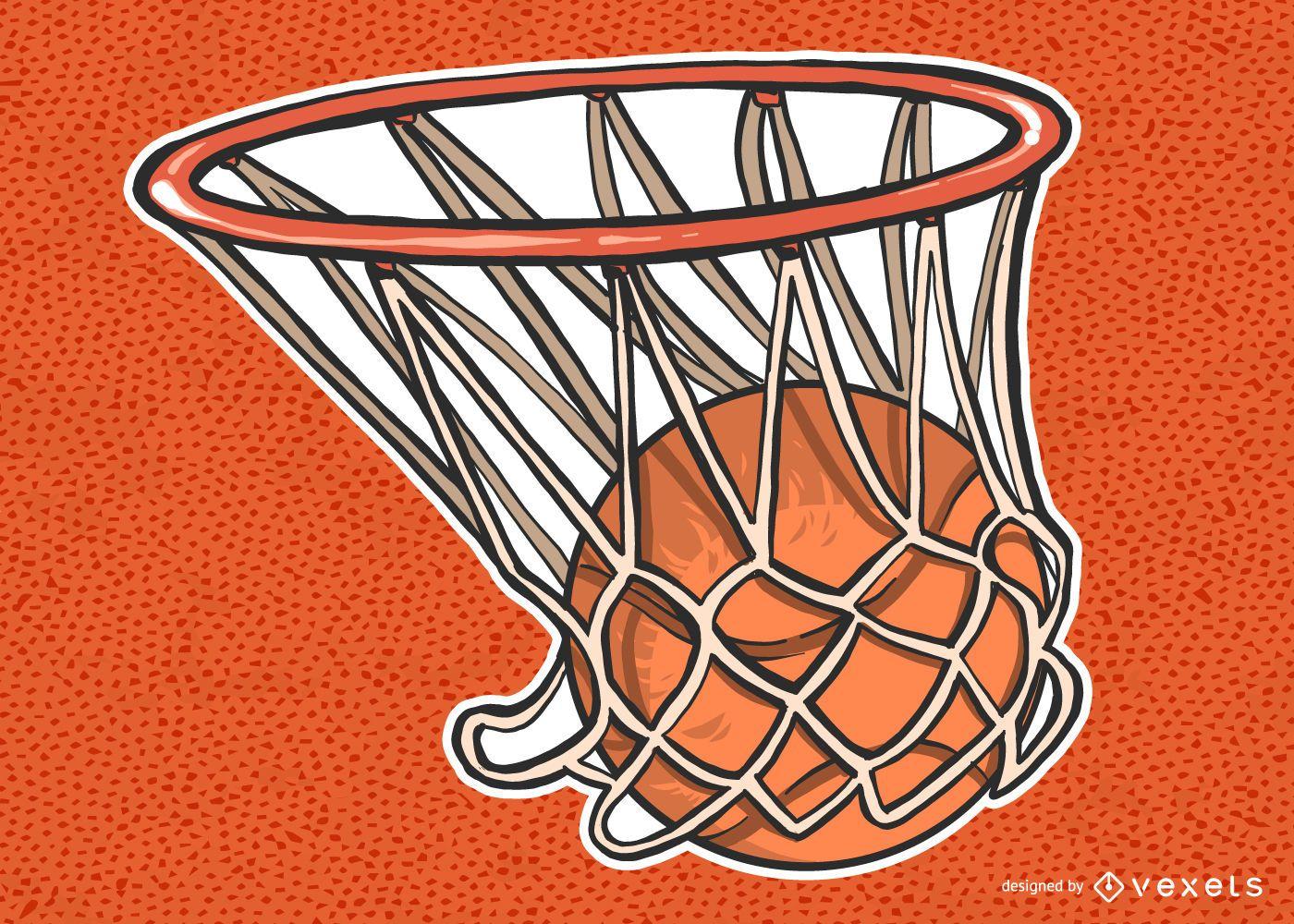 Basketball In Net Illustration