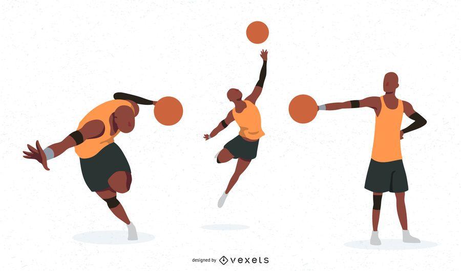 Conjunto de caracteres de jogador de basquete