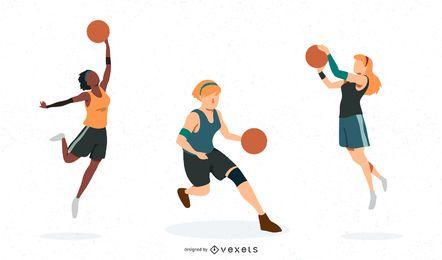 Conjunto de vetores de mulheres de basquete