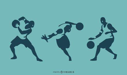 Silhuetas de jogador de basquete