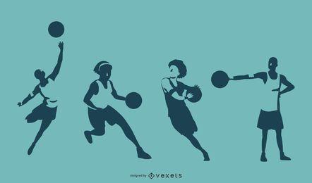 Ilustração de silhuetas de jogador de basquete