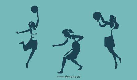 Silhuetas de jogador de basquete feminino