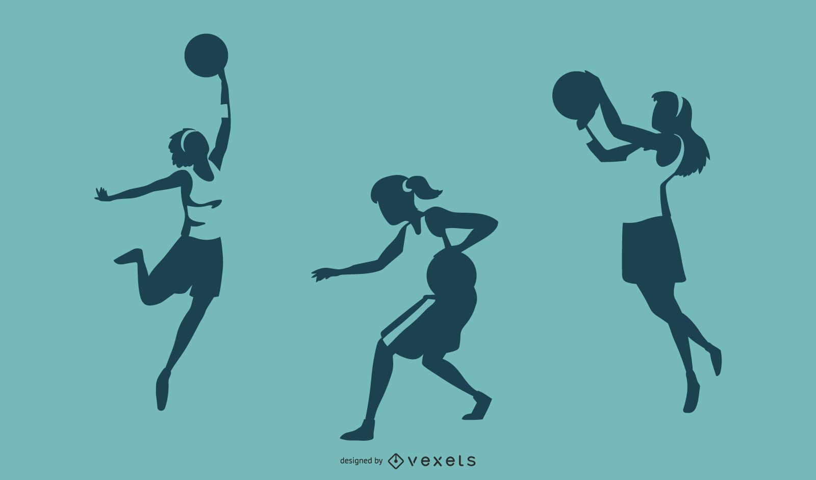 Female Basketball Player Silhouettes
