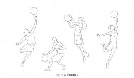 Design de silhueta de jogadores de basquete