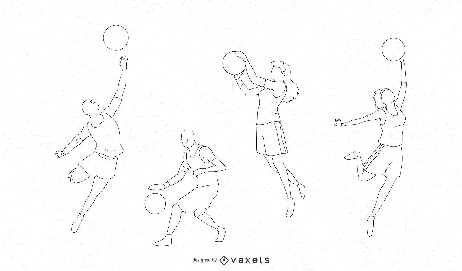 Projeto da silhueta dos jogadores de basquete