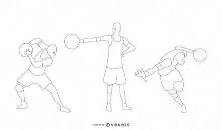 Conjunto de diseño de silueta de rutina de baloncesto