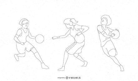 Silhuetas de rotina de basquete