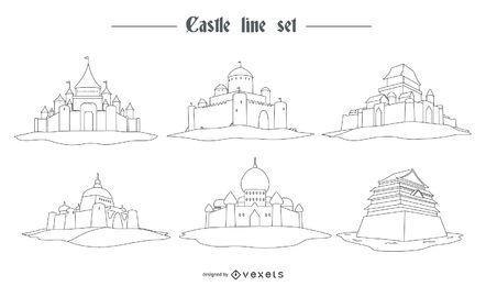 Conjunto de estilo de linha de castelo