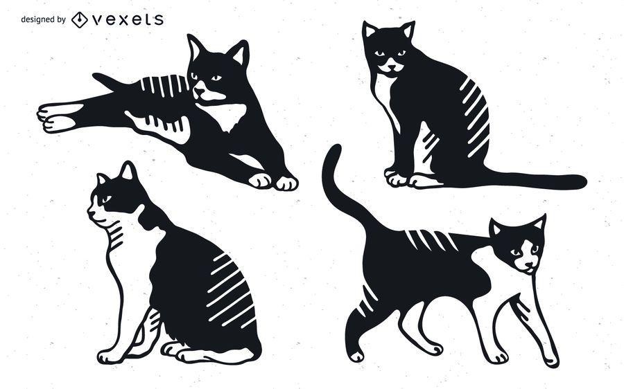 Diseño detallado de la silueta del gato