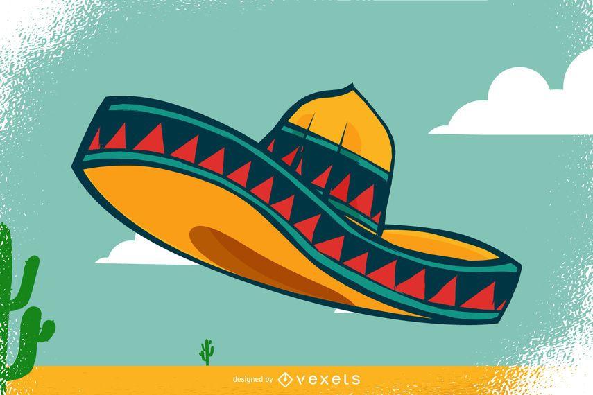 Ilustração mexicana sombrero