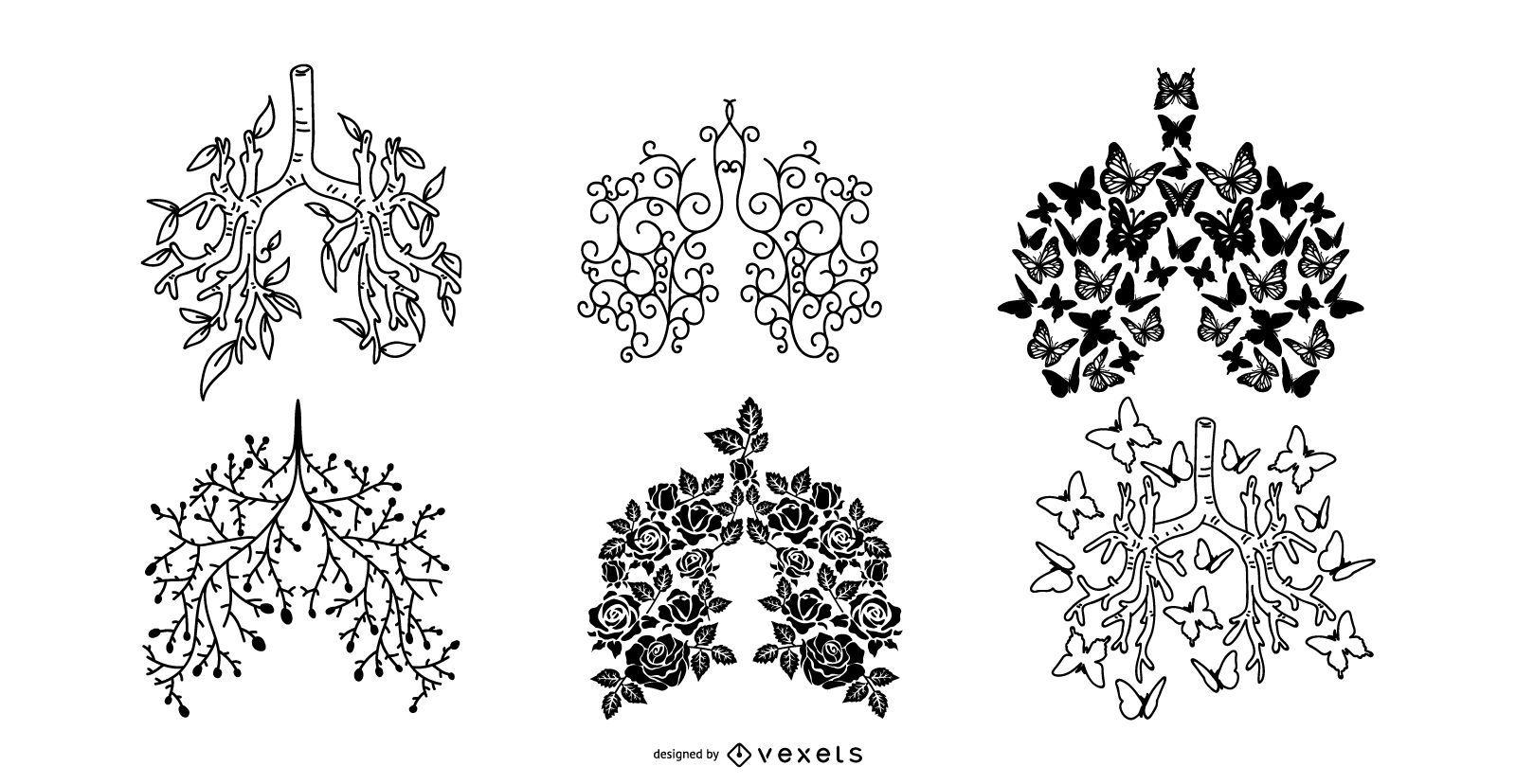 Conjunto de diseño de silueta de fibrosis quística