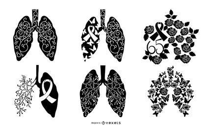 Coleção de silhuetas de conscientização sobre fibrose cística