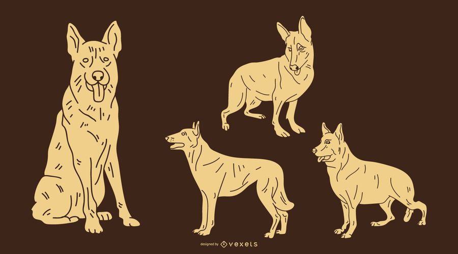 German Shepherd Dog Silhouette Set
