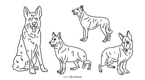 German Shepherd Stroke Vector Set